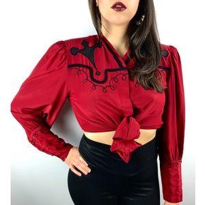 Vintage red silk cowgirl blouse by BELLINO PARIS